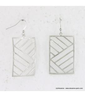 Boucle d'oreille métal brossé rectangle