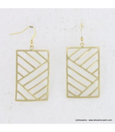 Boucle d'oreille métal brossé rectangle doré