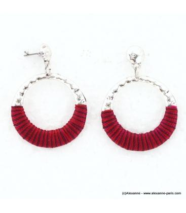 Boucles d'oreilles Amérindienne rouge