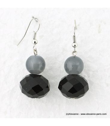 Boucles d'oreille cristal noir