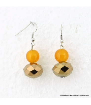 Boucles d'oreille cristal doré