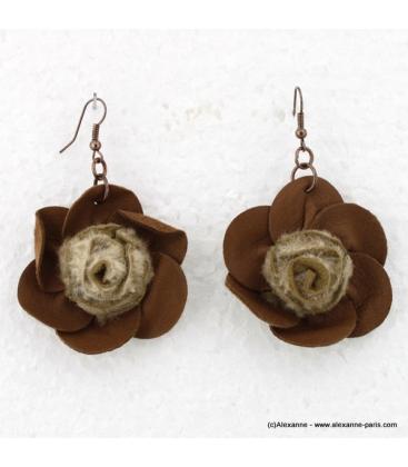 Boucles d'oreille Fleur cuir marron