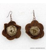Boucles d'oreille Fleur cuir