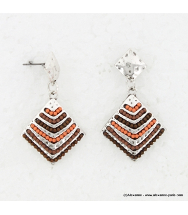 Boucles d'oreillle Incas marron