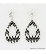 Boucles d'oreille Aztèque noir et blanc