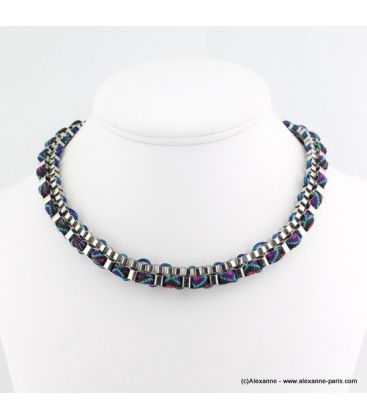 Collier ethnique rock bleu