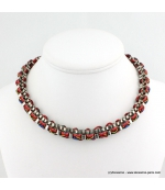 Collier ethnique rock rouge